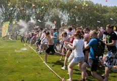 Epic water balloon battle Royalty Free Stock Image