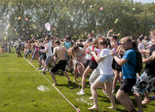 Epic water balloon battle Royalty Free Stock Image