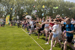 Epic water balloon battle Stock Images