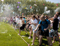 Epic water baloon battle. SZCZECIN, POLAND - MAY 23, 2014: Juwenalia, is an annual students' holiday in Poland, usually celebrated for three days in late May Royalty Free Stock Image