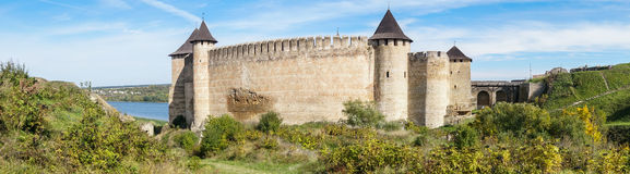 Epic Wonder Ukrainian Fortress Castle Khotyn – Panoramic Banne Stock Photo