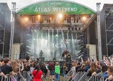 Epica exécute vivant au festival de week-end d'atlas à Kiev, Ukraine Image libre de droits
