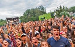 Epica exécute vivant au festival de week-end d'atlas à Kiev, Ukraine Photos stock
