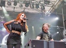Epica realiza vivo en el festival del fin de semana del atlas en Kiev, Ucrania Fotografía de archivo libre de regalías