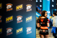 EPICENTER MOSCOW Dota 2 cybersport event may 13. Beautiful promo girls over virtus pro and natus vincere banner Stock Photos