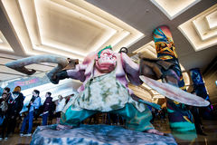 EPICENTER MOSCOW Dota 2 cybersport event may 13. Big Pudge hero statue Royalty Free Stock Image