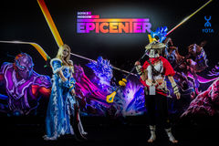 EPICENTER MOSCOW Dota 2 cybersport event may 13. Cosplay of game heroes crystal maiden and juggernaut at the event Royalty Free Stock Photo