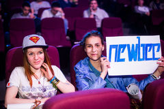 EPICENTRUM MOSKWA Dota 2 cybersport wydarzenie może 13 Drużynowi newbee fan obraz stock