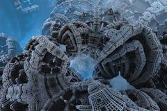 Epicki abstrakcjonistyczny plakat lub tło z fractals Bigscale wizerunek Fotografia Royalty Free