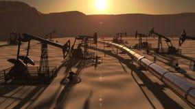 Epicki widok pole naftowe z pumpjacks i rurociąg zdjęcie wideo