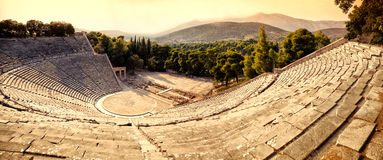 Epidaurus amphitheater. The antique amphitheater of Epidaurus in Greece Stock Photos