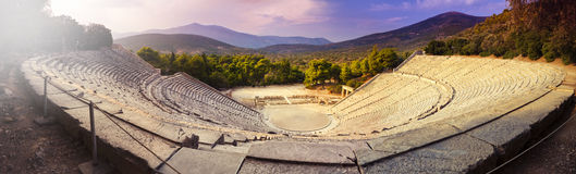 Epidaurus amphitheater. Panoramic shot of the famous antique amphitheater in Epidaurus (Peloponnese, Greece royalty free stock images