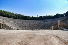 Epidaurus, Greece. Epidaurus religious and medical center. Here is the ancient theatre, which was built in the 3rd century BC. It seats 1,400 people and has Royalty Free Stock Photo