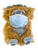 Epidemic. Teddy bear with medical face mask on white background Stock Images