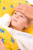 Epidemic. Ickie young girl in bed Stock Images