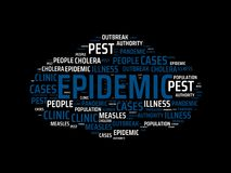 EPIDEMIC - image with words associated with the topic EPIDEMIC, word cloud, cube, letter, image, illustration Royalty Free Stock Photos