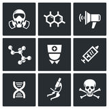 Epidemic protection icons set Royalty Free Stock Images