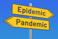Epidemic vs pandemic concept on the road signpost. 3D rendering Royalty Free Stock Photos
