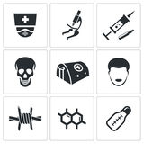Epidemiczna ochrona i medyczne ikony ustawiający Zdjęcie Stock