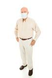 Epidemie - älterer Mann-volle Karosserie stockfotos