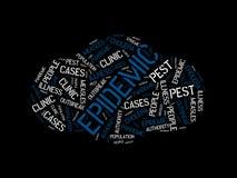 EPIDEMIE - Bild mit den Wörtern verbunden mit der Thema EPIDEMIE, Wortwolke, Würfel, Buchstabe, Bild, Illustration lizenzfreies stockfoto