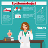 Epidemiologist and medical equipment icon Stock Photography