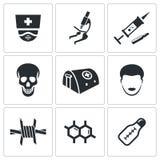 Epidemische geplaatste bescherming en medische pictogrammen Stock Foto