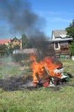 在种田的蜂的Epidemy -毁坏的蜂箱 库存照片