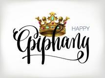 Epifanía feliz - dé el texto de las letras con la corona de los reyes Imagen de archivo libre de regalías