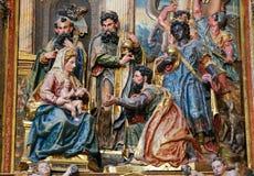 Epifanía o adoración de unos de los reyes magos en la catedral de Burgos, España Fotografía de archivo
