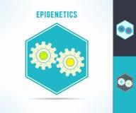 Epigenetics de la DNA del vector y símbolo del mecanismo de la genética Célula con el elemento del diseño de los engranajes Fotos de archivo libres de regalías