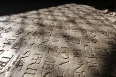 Epigraphy tombstone with inscription in latin. On the church floorwith shadow Royalty Free Stock Photos