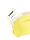 Epilator in bag on white. Electric device epilator in yellow case on white isolated Stock Images