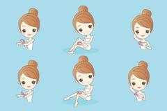 Epilator kvinnasamling royaltyfri illustrationer