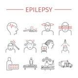 epilepsie Geplaatste lijnpictogrammen Stock Foto's