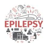 Epilepsja sztandar Objawy, traktowanie Kreskowe ikony ustawiać Wektorów znaki dla sieci grafika Obraz Stock