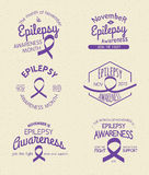 Epilepsy Awareness Month. Hand Drawn Insignia set vector illustration