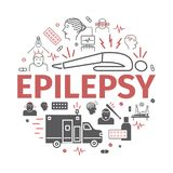 Epilepsy banner. Symptoms, Treatment. Line icons set. Vector signs for web graphics. Stock Image