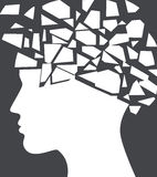 Epilepsy, headache concept with face silhouette shattered. Royalty Free Stock Images