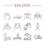 Epilepsy. Line icons set. Stock Photos