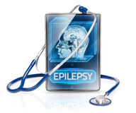 Epilepsy. Modern medical tablet displaying diagnosis of epilepsy stock photo
