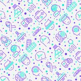 Epilepsy seamless pattern with thin line icons