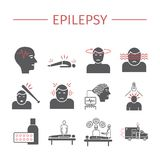 Epilepsy. Symptoms, Treatment. Flat icons set. Vector signs