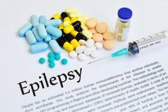 Epilepsy treatment. Syringe with drugs for epilepsy treatment royalty free stock photography