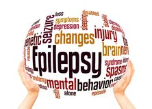 Epilepsy word cloud sphere concept. On white background royalty free stock photography