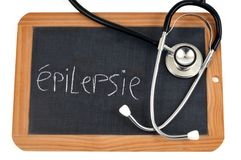 Epilepsy written in French on a school slate royalty free illustration