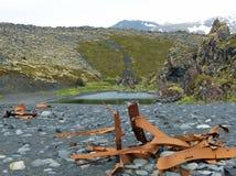 Epine的击毁在Djupalonssandur海滩的 图库摄影