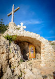 Epiphanios chapel and icon,ayia napa cyprus 2. Saint Epiphanios is a chapel which is devoted to the Byzantine Bishop of Salamis. From this location there is an Royalty Free Stock Images
