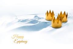 Epiphany, ημέρα τριών βασιλιάδων, που συμβολίζεται από τρεις επιδιορθωμένες κορώνες ο Στοκ Φωτογραφίες