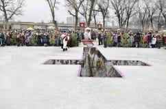 epiphany Καθαγίαση των ιερέων της Samara ποταμών Στοκ Φωτογραφίες